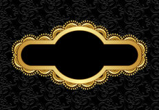 Figured golden frame with wavy pattern. On  abstract black background Stock Photos