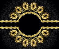 Figured, golden frame with wavy rim. And decorated in a circle Royalty Free Stock Images