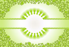 Figured green frame on a light green background. With filigree ornament with shadows Stock Images