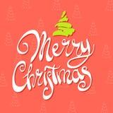 Figured inscription Merry Christmas Stock Photo