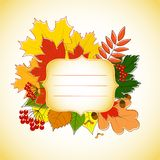 Figured invitation card with autumn leaves Stock Photos