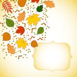 Figured invitation card with autumn leaves Royalty Free Stock Photo