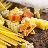 Figured Pasta and noodles. Close up stock photos