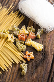 Figured Pasta and noodles. Figured Pasta, noodles and rice vermicelli close up royalty free stock photo