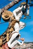 The figurehead of the Galleon Neptune. The Galleon Neptune, built for the Roman Polanski film Pirates in 1986 (with Walter Matthau), now moored in Porto Antico stock image