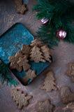 Figurerade kakor i form av en julgran och en cookware, en kavel med en modell Arkivbilder