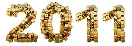 Figures. Of the new year of the golden dice. isolated on white Royalty Free Stock Images