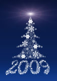 Figures 2009 and a fur-tree made of snowflakes. A Christmas celebratory background stock illustration