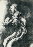 Figures. By Goya - black charcoal Stock Image