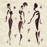 Figures of african dancers. Hand drawn. Vector Illustration Stock Photography