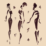 Figures of african dancers. Hand drawn Royalty Free Stock Images