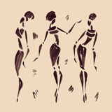 Figures of african dancers. Hand drawn Royalty Free Stock Image