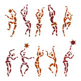 Figures of African dancers. People silhouette set. Primitive art. Vector Illustration Stock Images