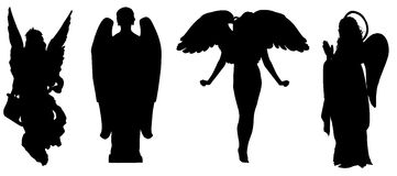 The figures of angels. Four different shapes of angels Royalty Free Stock Photos
