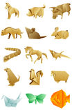Figures of animals origami set on white background Stock Image