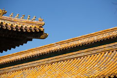 Figures of animals on the roof of the Forbidden City in Beijing Stock Images
