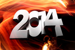Figures 2014. 2014 figures on a background of fire Royalty Free Stock Photography