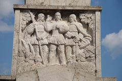 Figures in bas-relief of the obelisk, Alba Julia. Visit at the old Transylvanian city of Alba Iulia in Romania, and snap shot of the bas-relief on the base of Stock Photo