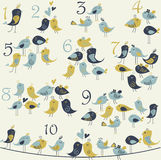 Figures with birds. Figures from 1 to 10 with cute birds in cartoon style. Counting for children Stock Image