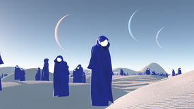 Figures in blue robes in desert Stock Images