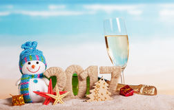 Figures 2017, bottle champagne, glass, snowman, tree, starfish against sea. Stock Photos