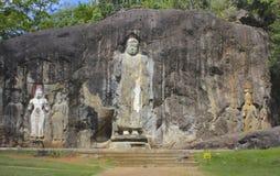 Figures bouddhistes Pierre-découpées, temple de Buduruwagala, Sri Lanka Image libre de droits