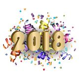 2018 New Year card with colorful serpentine. Great for New year party posters, headers. Vector illustration. Figures 2018 and a bright streamer on a white Stock Image