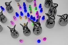 Figures brillantes se tenant sur une surface lumineuse illustration de vecteur