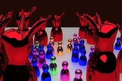 Figures brillantes se tenant sur une surface lumineuse illustration libre de droits