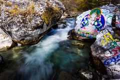 Waterfall and buddhism Stock Photo