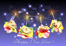 Figures canape with sparklers Royalty Free Stock Photos