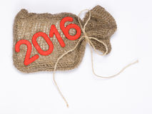 2016 figures. A canvas bag with gifts and figures 2016 Stock Photo