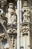 Figures carved. On the facade of the convent Templar Tomar, Portugal Stock Photo