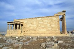 Figures of the Caryatid Porch of the Erechtheion on the Acropolis at Athens. royalty free stock image