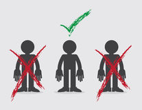 Figures X and Check Selected. Figures with x marks and one selected with green check mark Stock Photo