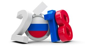 Election Russia 2018. Figures 2018 in the colors of russian flag with badge isolated on white background, represents Presidential Election 2017 in Russia, three stock illustration