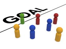 Figures crossing goal line. Group of colorful figures heading towards goal line, business concept on white background Stock Images