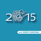 Figures 2015 with curly sheep .New year and Stock Image