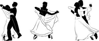 Figures of dancers #2. Beautiful high detailed figures of dancers drawn manually. May be useful as elements for the designers. Vector EPS format is available Royalty Free Stock Images