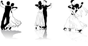 Figures of dancers #3. Beautiful high detailed figures of dancers drawn manually. May be useful as elements for the designers. Vector EPS format is available Stock Photo
