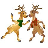 Figures of dancing Christmas deer in scarves. Funny cartoon animal in expressive character. Vector isolated on white background Royalty Free Stock Images