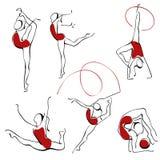 figures den rytmiska seten för gymnastik Royaltyfria Foton