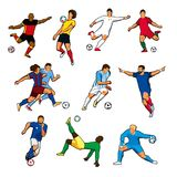 Figures of different football players of different football teams. Color vector graphics. Isolated. Stylized illustrations in the style of graffiti Royalty Free Stock Photos