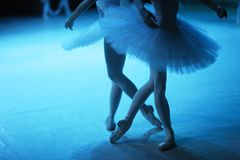 Figures of the duo of ballerinas on the stage. Of the Opera and Ballet Theater Stock Photography