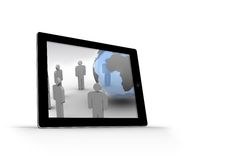Figures and earth on tablet screen. On white background Royalty Free Stock Photos