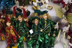 Figures of elves sold at Christmas Fair, toys shop royalty free stock photos