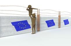 Figures essayant à la barrière de pas Images libres de droits