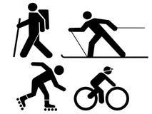 Figures exercising. Hiking skiing skating and cycling Stock Photos