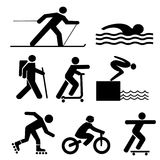 Figures exercising silhouettes. Figures exercising hiking skiing skating cycling swimming and diving Stock Image