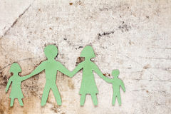 Figures of the family on a dirty canvas Royalty Free Stock Images
